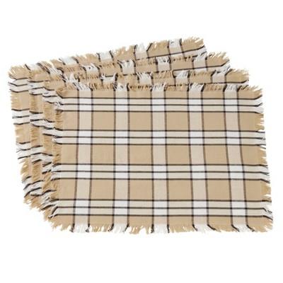 Set of 4 Cotton Placemats With Khaki Plaid Design Beige - Saro Lifestyle