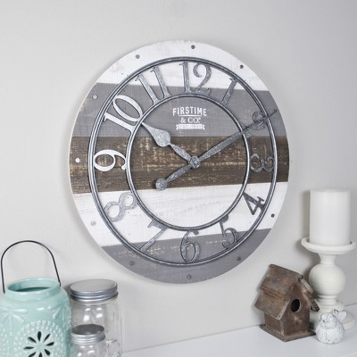 "16"" Shabby Farmhouse Wood Wall Clock Gray - FirsTime & Co."