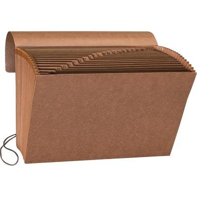 "Sparco Accordion File w/Flap A-Z 21 Pocket Letter 12""x10"" Brown 23680"