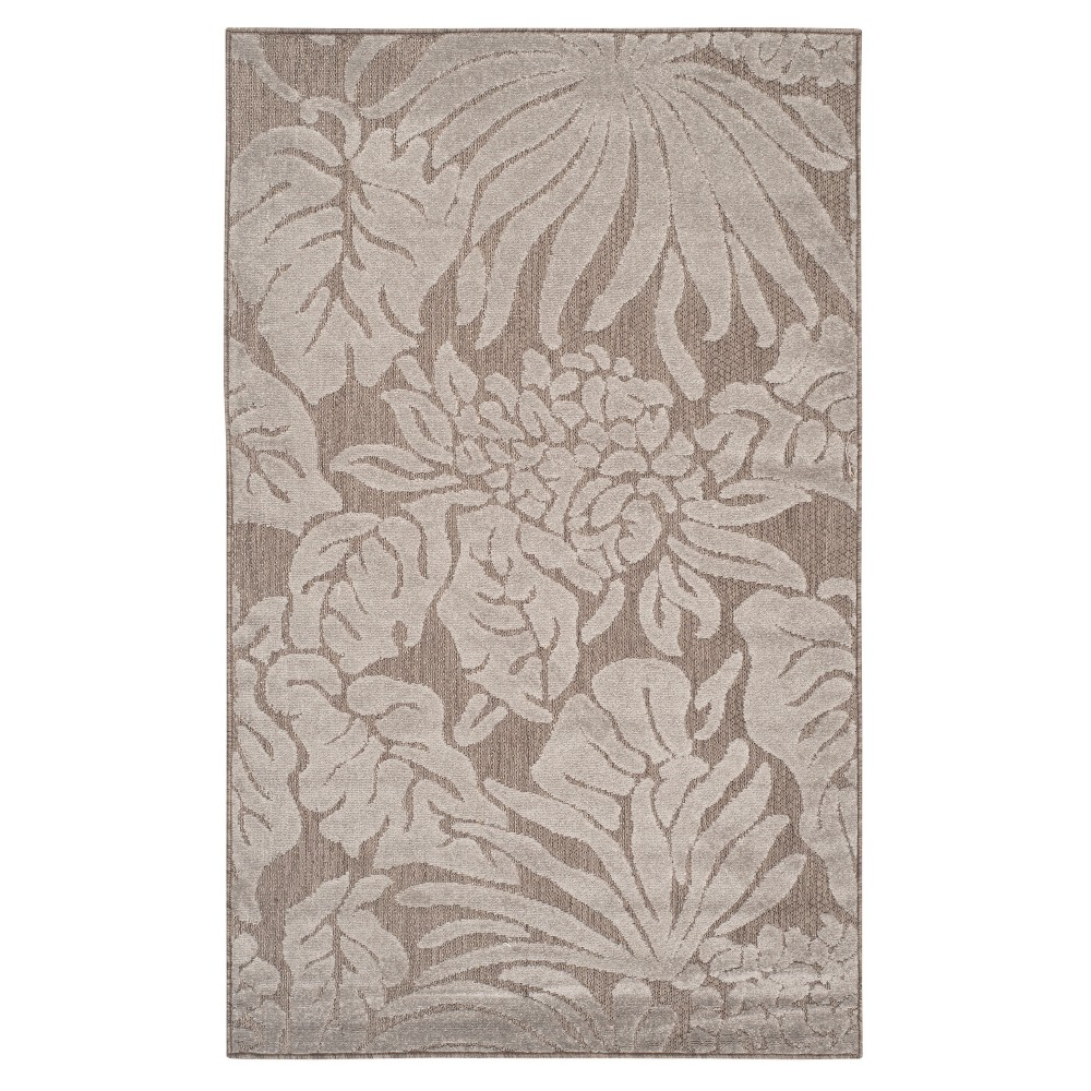 Gray Leaf Loomed Accent Rug 3'3