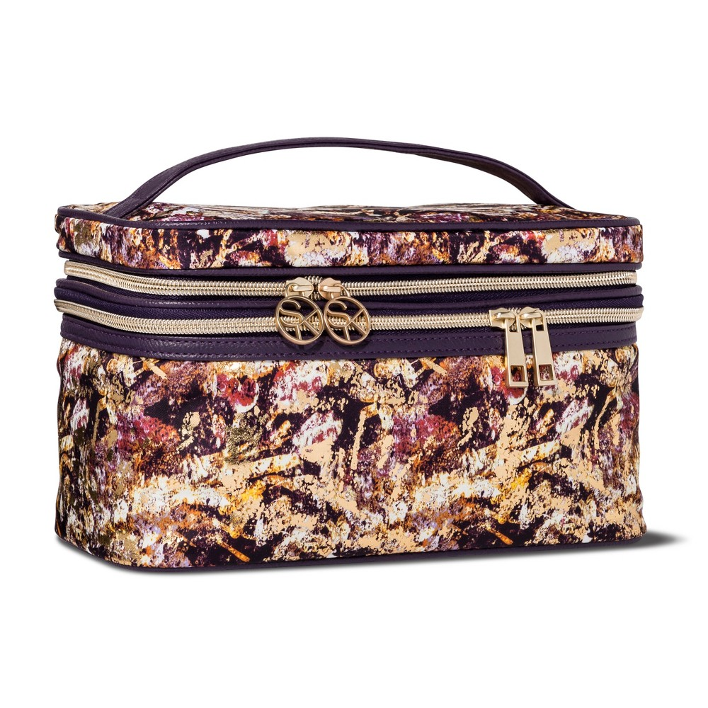 Sonia Kashuk Cosmetic Bag Double Zip Train Case Distress Floral with Foil
