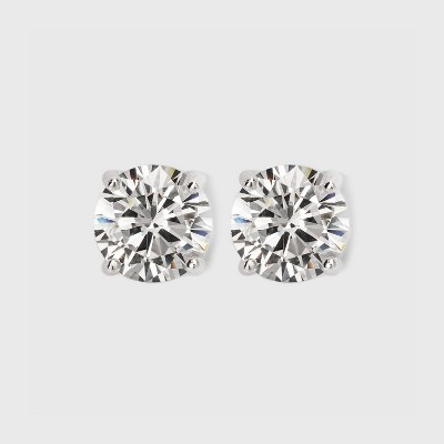 Sterling Silver Round Button Stud Earring - A New Day™ Silver