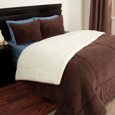 Sherpa Fleece Comforter Set (Full/Queen)Chocolate 3pc - Yorkshire Home
