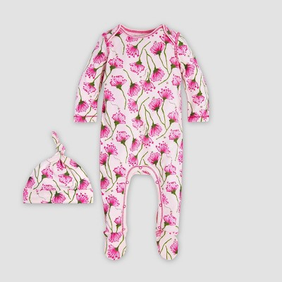 Burt's Bees Baby® Baby Girls' Sprouted Poppy Organic Cotton Jumpsuit & Knot Top Hat Set - Pink 3-6M