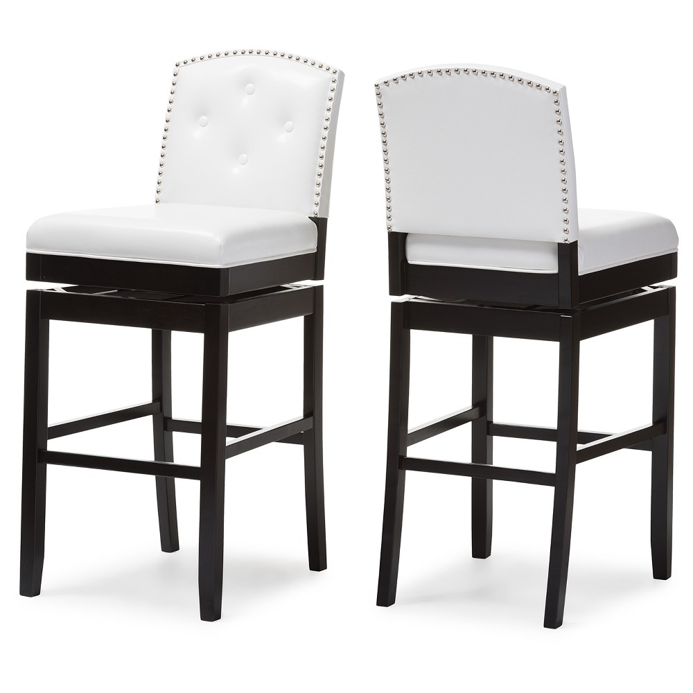 Set of 2 Ginaro Modern and Contemporary Faux Leather Button Tufted Upholstered Swivel Bar Stool - White - Baxton Studio