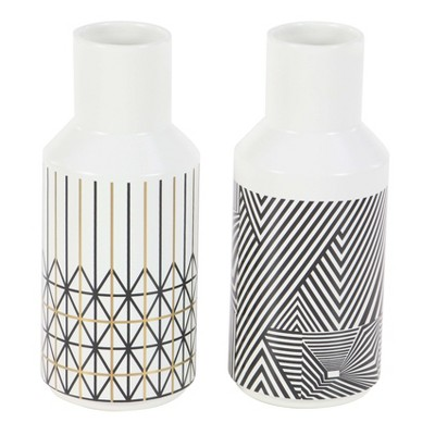 Vase Set of 2 - White/Black - Olivia & May
