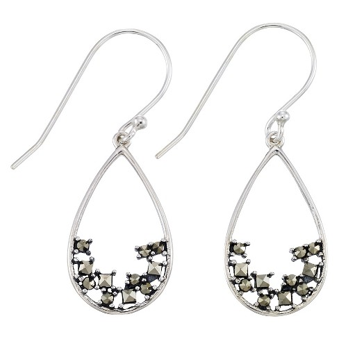 Marcasite Open Work Teardrop Wire Earrings-Sterling Silver - image 1 of 1