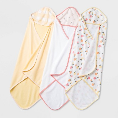 Baby Girls' 3pk Fruit Print Hooded Towel - Cloud Island™ Yellow