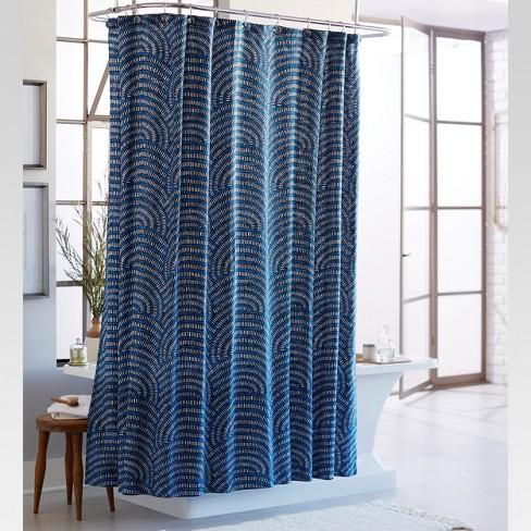 Block Shower Curtain Blue White