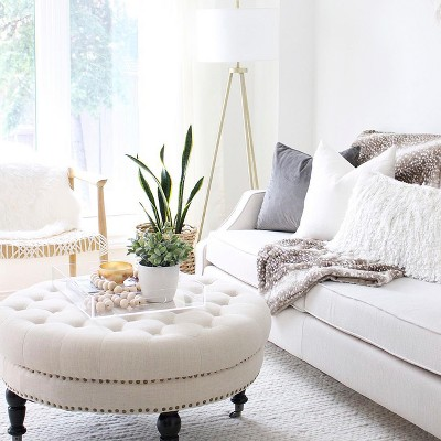 Outstanding Isabelle Round Tufted Ottoman Alphanode Cool Chair Designs And Ideas Alphanodeonline