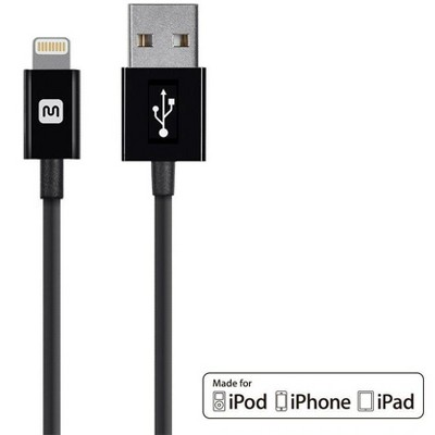 Monoprice Apple MFi Certified Lightning to USB Charge & Sync Cable - 10 Feet - Black   iPhone X, 8, 8 Plus, 7, 7 Plus, 6, 6 Plus, 5S - Select Series