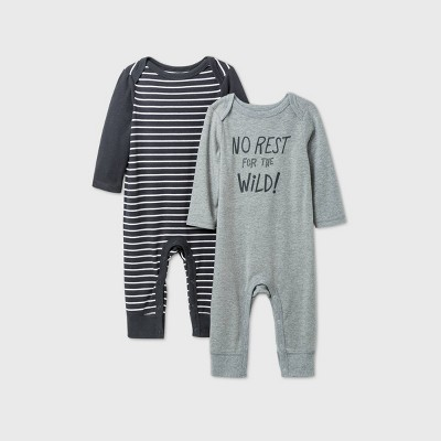 Baby Boys' 2pk 'No Rest For The Wild' Long Sleeve Romper - Cat & Jack™ Gray