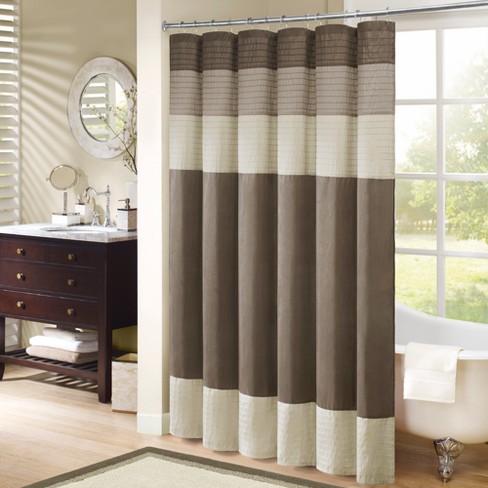 Salem Stripe Block Polyester Shower Curtain with Pintucking : Target