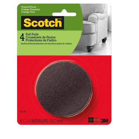 "Scotch 3"" 4pk Felt Pads Brown - image 1 of 3"