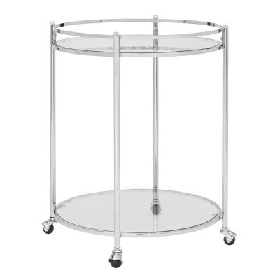 Veranda Round Bar Cart with Clear Glass Chrome - Studio Designs Home