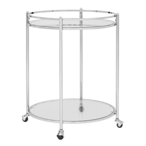 Veranda Round Bar Cart with Clear Glass Chrome - Studio Designs Home - image 1 of 4