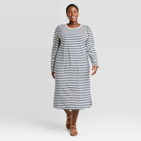 Women's Plus Size Striped Puff Long Sleeve T-Shirt Dress - Universal Thread™ White 1X