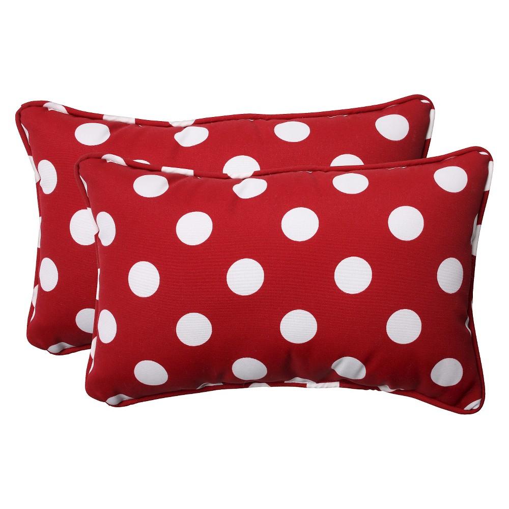 2 Piece Outdoor Toss Pillow Set Red White Polka Dot 18