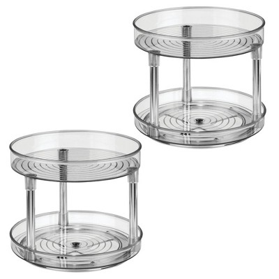 "mDesign 2 Level Food Storage Lazy Susan Turntable, 9"" Round, 2 Pack"