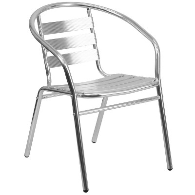 Flash Furniture Commercial Aluminum Indoor-Outdoor Restaurant Stack Chair with Triple Slat Back and Arms