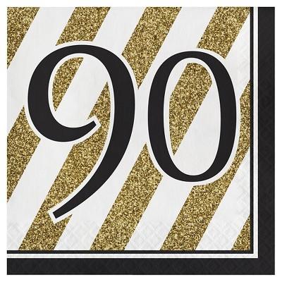 16ct Black & Gold 90th Birthday Napkins