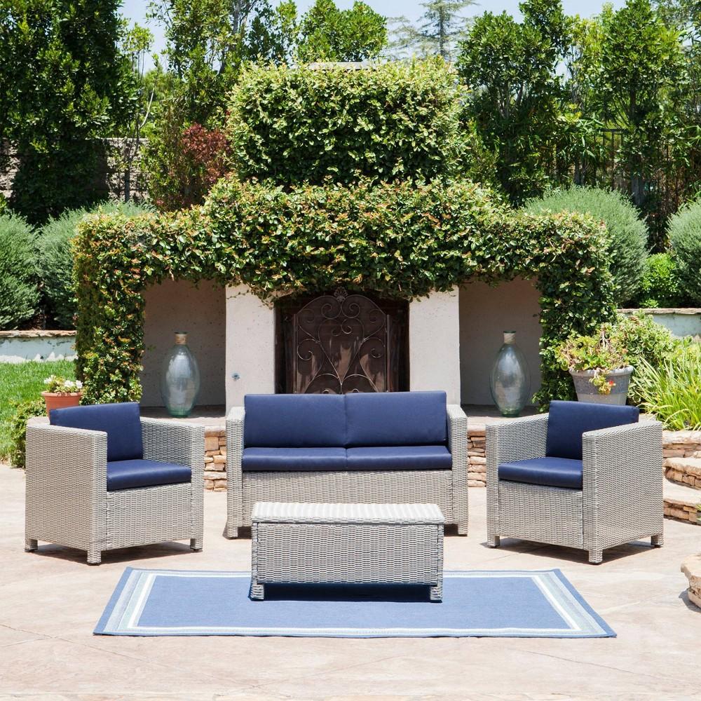Puerta 4pc Wicker Patio Sofa Set Chalk/Navy Blue - Christopher Knight Home, Chalk/Blue