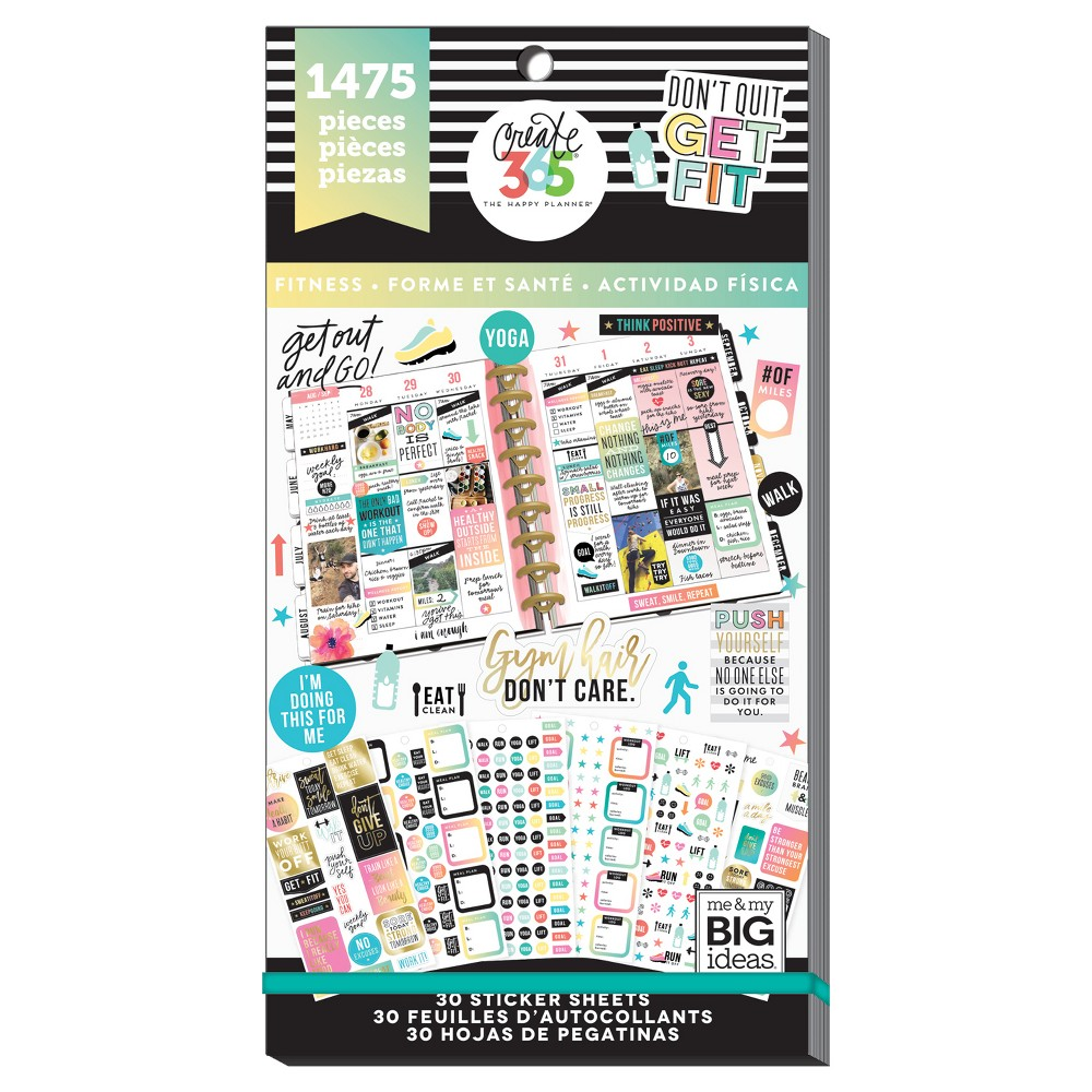 Me & My Big Ideas Planner Stickers Don't Quit Get Fit Theme 1475ct, Fitness