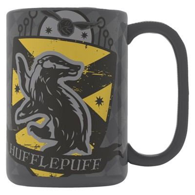 Harry Potter 15oz Ceramic Hufflepuff Mug Gray/Yellow - Zak Designs