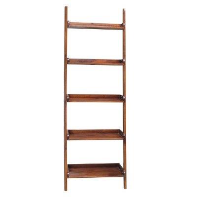 """75.5"""" 5 Tier Solid Wood Leaning Bookshelf - International Concepts"""