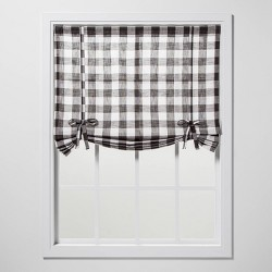 "63""x42"" Check Light Filtering Balloon Window Shade Gray - Threshold™"