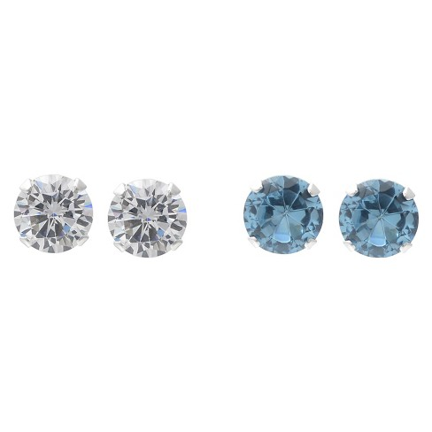 1 1/2 CT. T.W. Round-cut CZ Prong Set Stud Earrings Set in Sterling Silver - image 1 of 1