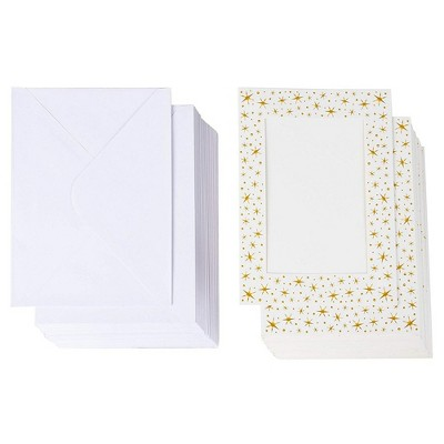 "36-Pack Photo Insert Greeting Cards with Envelopes Included, Gold Foil Start Border, Holds 5"" x 7"" Photos"