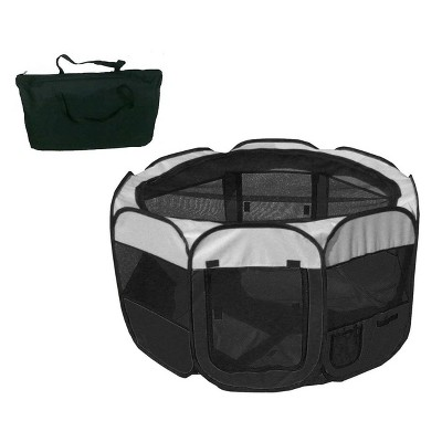 Pet Life All-Terrain Lightweight Easy Folding Wire-Framed Collapsible Travel Dog Playpen - L - Black