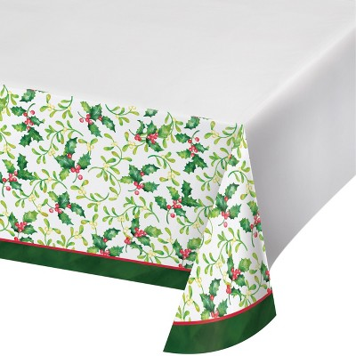 Holly Plastic Tablecloth Green