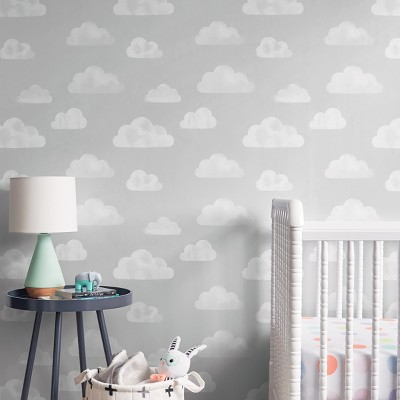 Peel & Stick Wallpaper Water Color Clouds Gray - Cloud Island™