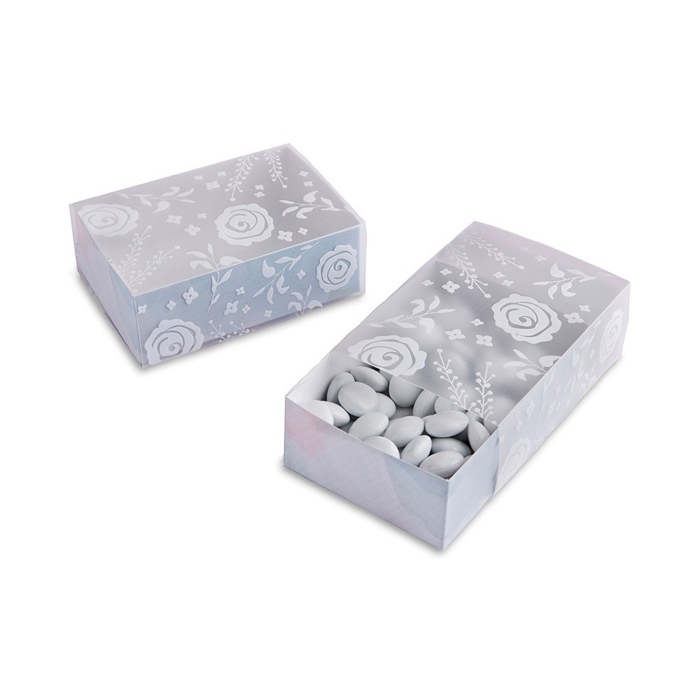 24ct Kate Aspen Frosted Floral Slide Favor Box, Light Off-White