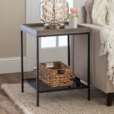 Industrial Square Tray Side Table With Metal Mesh Shelf - Saracina Home : Target