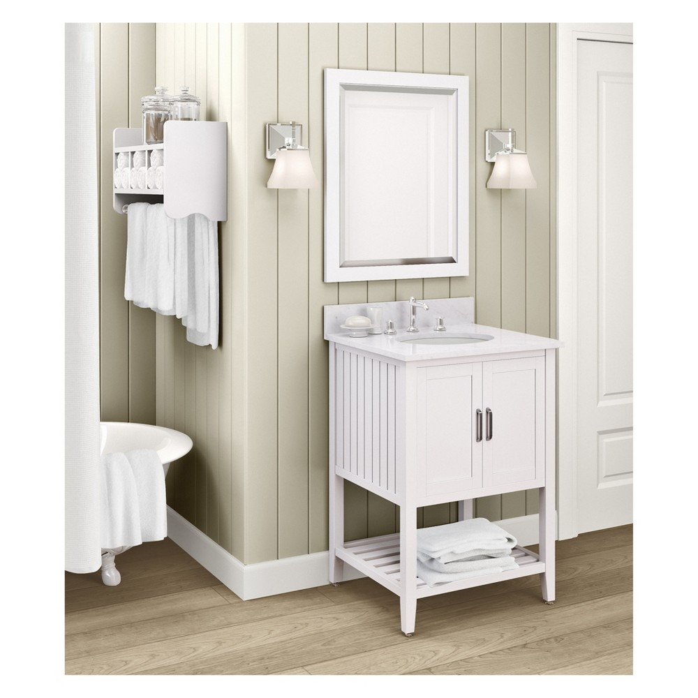 Bennett with White Marble Sink Top and Bath Storage Shelf and Vanity Mirror Set Bath Vanity Cabinet White 25 - Alaterre Furniture