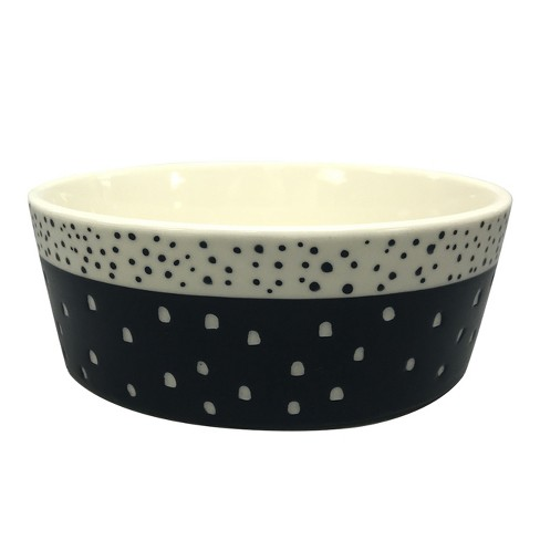 4 Cup Stoneware Dog Bowl With Carved Pattern Navy Boots Barkley