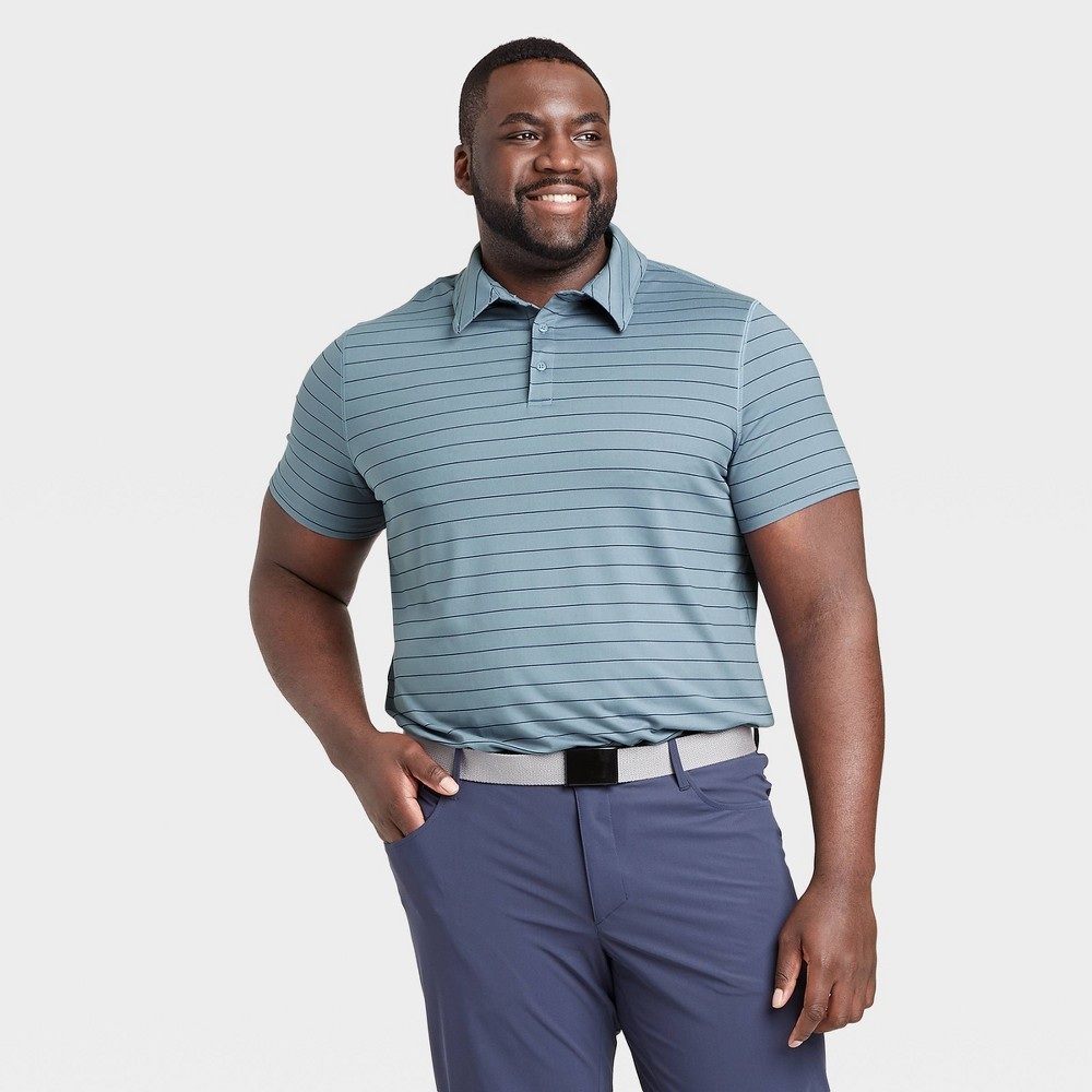 Men's Striped Golf Polo Shirt - All in Motion Blue XXL was $24.0 now $12.0 (50.0% off)