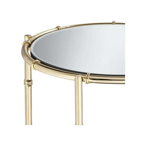 """Studio 55D Macau 22"""" High Gold and Mirrored Accent Table - image 1 of 4"""