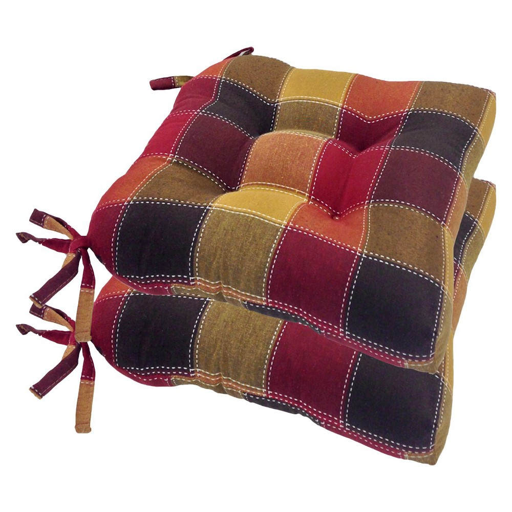 Image of Allspice Harris Plaid Woven Plaid Chair Pads With Tiebacks (Set Of 4) - Essentials