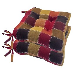 Harris Plaid Woven Plaid Chair Pads With Tiebacks (Set Of 4)
