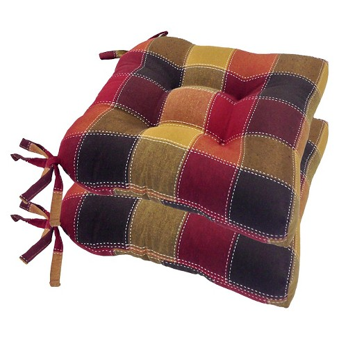 Harris Plaid Woven Plaid Chair Pads With Tiebacks Set Of