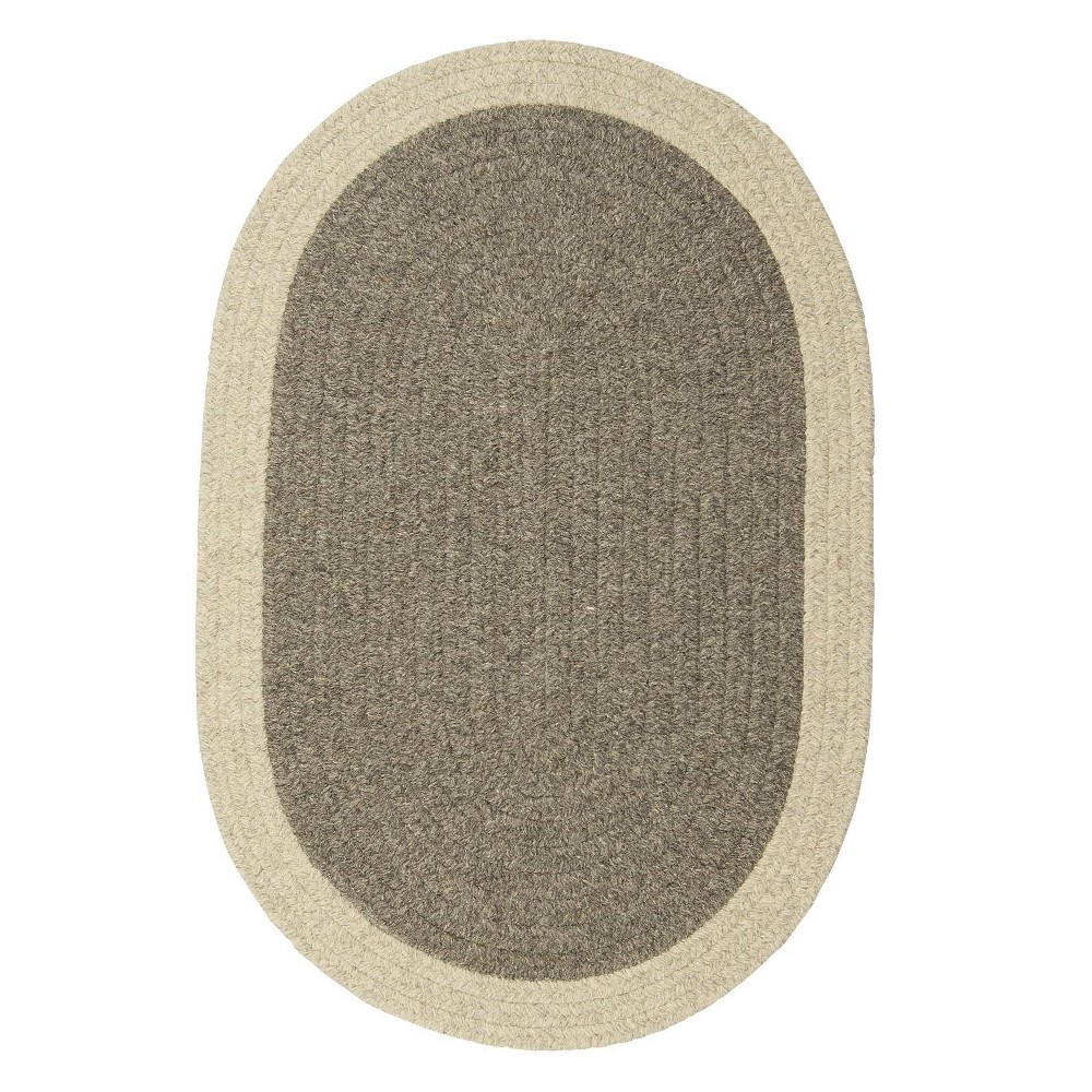 Image of 10' Round Malibu Border Braided Area Rug Dark Gray - Colonial Mills, Size: 10' Round
