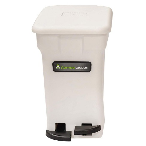 CompoKeeper Kitchen 6 Gallon Compost Organic Waste Kitchen Bin Trash Can,  White