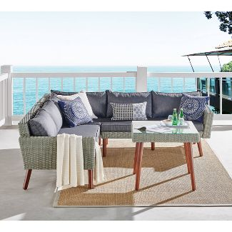 4pc All-Weather Wicker Albany Outdoor Sectional Sofa with Cocktail Table Set Brown - Alaterre Furniture