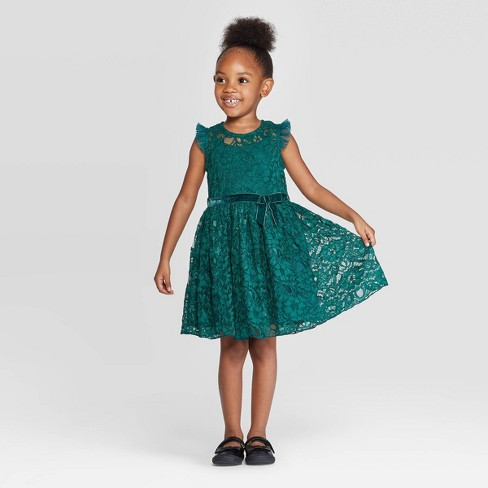 Zenzi Toddler Girls Lace Dress Green