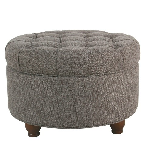 Fabulous Homepop Large Tufted Round Storage Ottoman Dark Gray Ncnpc Chair Design For Home Ncnpcorg