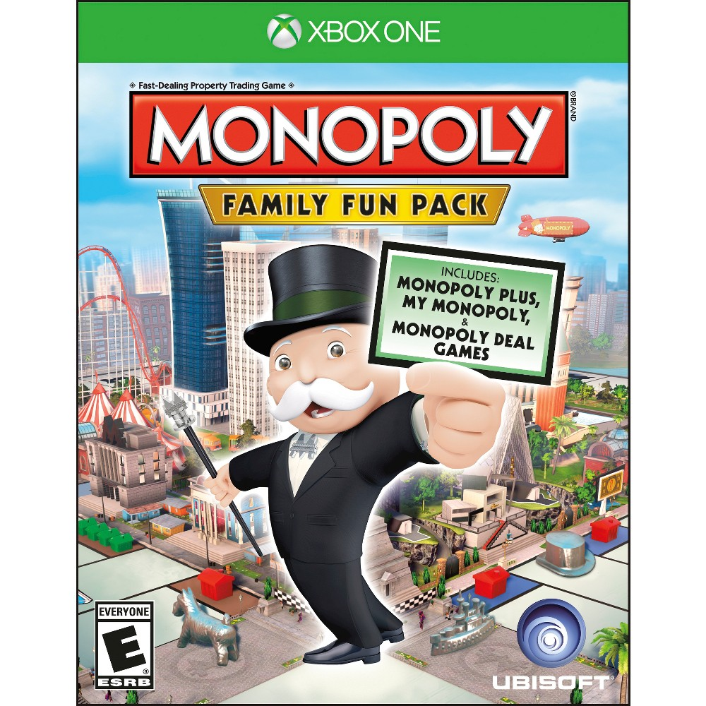 Monopoly Family Fun Pack Xbox One Fatten you wallet and have fun with the Monopoly Family Fun Pack Video Game for Xbox One. The classic game from Hasbro is redesigned with three new ways to play: Monopoly Plus, My Monopoly, and Monopoly Deal. In Monopoly Plus, two dimensions turn to three in a virtual world that can accommodate up to to six players and online play. In My Monopoly, design your own board by personalizing properties, adding pictures, and more. In Monopoly Deal, the classic game becomes a fast-paced card game that accommodates up to 5 players and online play.